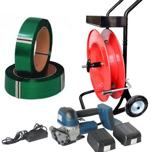Battery strapping tool set PET strap + dispenser + battery + charger