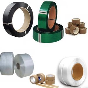 PET, PP, Textile strap and adhesive tape